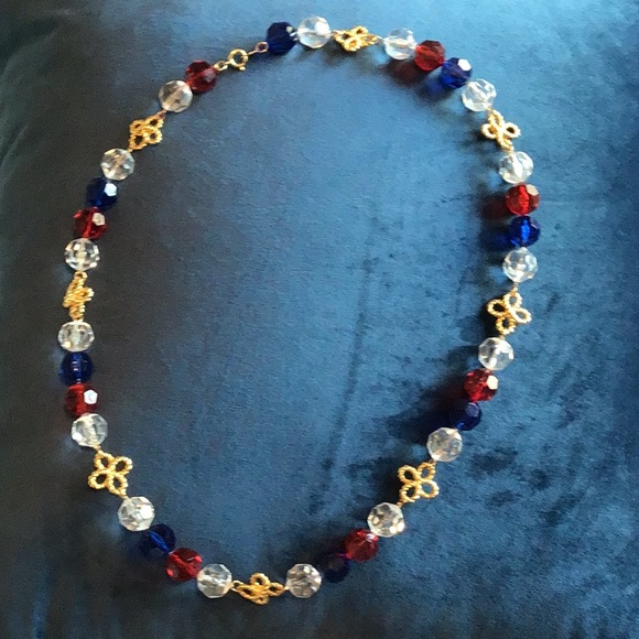 Trifari Beaded Necklace Vintage Gold /& Blue Beads 23 Length